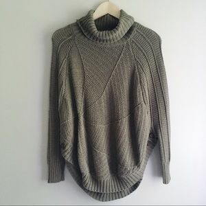 Anthro Angel of the North Olive Turtleneck Poncho